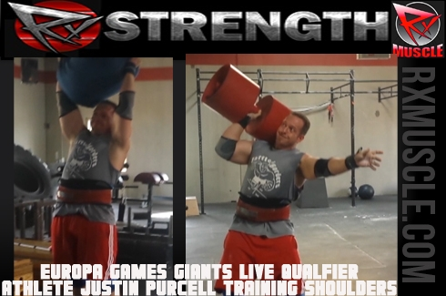 Europa Games Giants Live Qualfier Athlete Justin Purcell Training Shoulders